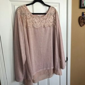 Adiva Pink Sweater Top w/Lace Neckline & Silk Hem